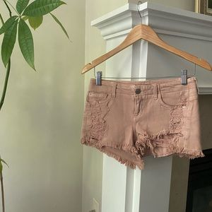 GUESS Pink Distressed Denim Cheeky Shorts